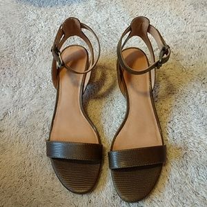 WORN ONCE MADEWELL Ankle Strap Heels Green